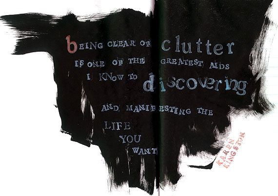 Black gesso art journaling - Declutter pages
