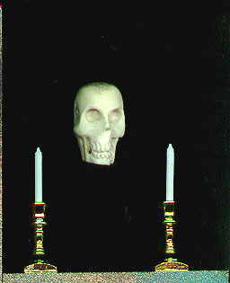 Skull and candles in Edgar Allan Poe shrine