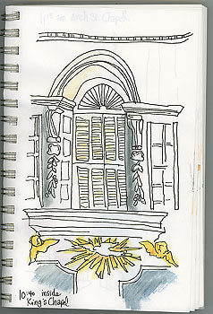 I enjoyed sketching inside the chapel, listening to others talk about its history.