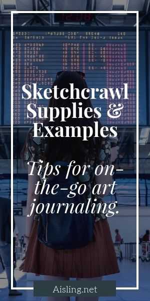 Sketchcrawl supplies and examples