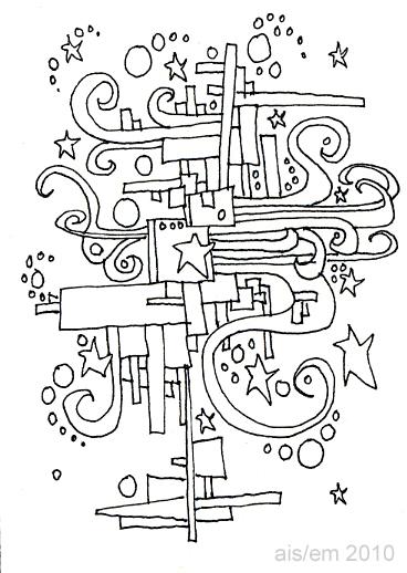 ATC - pen and ink - city stars