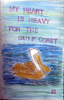 Journal page, pelican stamp carved by Dot McQuade