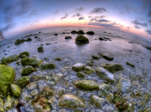 Fisheye photo of a beach, by John Nyberg, Denmark - www.hdrfoto.dk