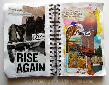 Two artists' journals pages by Aisling D'Art.