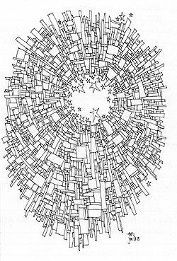 Pandorica-inspired ink drawing