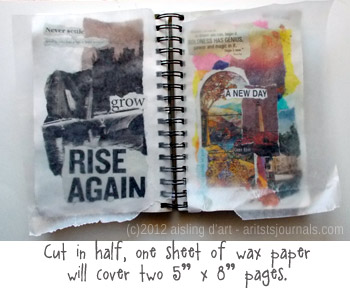 Art journaling - one sheet, two pages