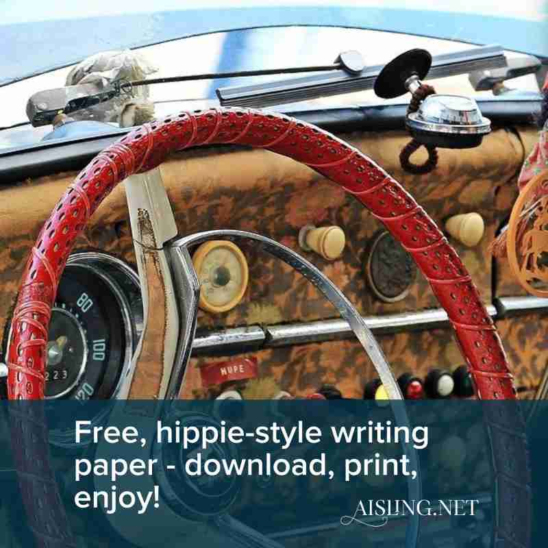 free hippie-style writing paper
